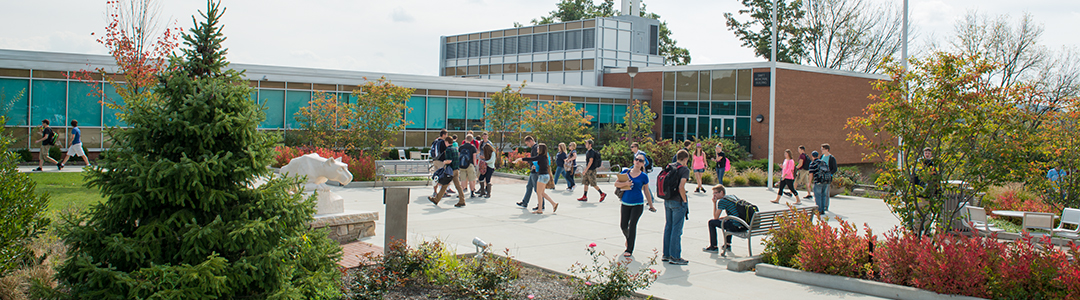 Student congregate on the campus of Penn State DuBois.