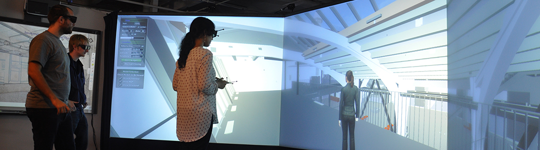 A student in goggles participates in a virtual reality simulation in the Immersive Construction Lab.
